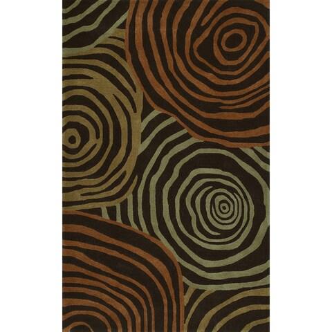 Addison Zenith Brown/Orange Wool-blend Bold Geometric Area Rug (8' x 10')