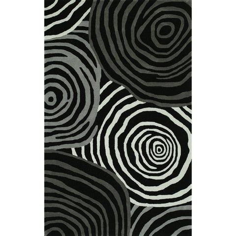 Addison Zenith Bold Geometric Night/Gray Wool Viscose Area Rug (9' x 13')