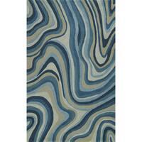 Addison Zenith Contemporary Waves Blue/Grey Area Rug - 9' x 13'