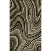 Addison Zenith Contemporary Waves Brown/Ivory Area Rug (9' x 13')