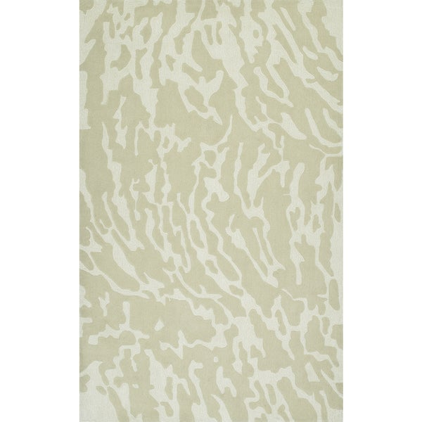 Addison Rugs Zenith Subtle Nebulous Abstract Oyster/Ivory Wool/Viscose Area Rug (9' x 13')
