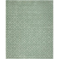 """Valencia Metallic/Blue/Ivory Wool and Viscose Hand-tufted Area Rug (2'6 x 10') - 2'6"""" x 10'"""