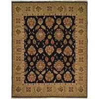 Sierra Black/Gold Wool Soumak Area Rug (2'6 x 12')