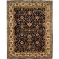 "Shajahan Black/Ivory Wool Hand-knotted Runner Rug (2' 6 x 10') - 2'6"" x 10'"