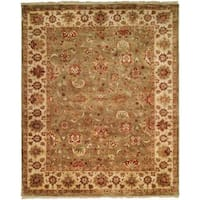 """Royale Sage/Ivory Hand-knotted Runner Rug (2' 6 x 10') - 2'6"""" x 10'"""
