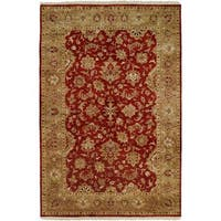 Royale Rust/Beige Wool/Cotton Hand-knotted Area Rug (2'6 x 10')