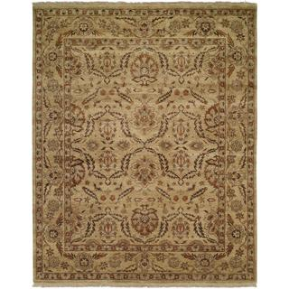 Pasha Antique/Gold Wool Hand-knotted Area Rug (2'6 x 10')
