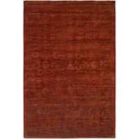Nirvana Rich Russet Hand-knotted Wool/Viscose Runner Rug (2'6 x 12'0)
