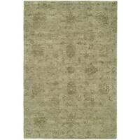 "Nirvana Celadon Khaki Wool Hand-knotted Runner Rug (2' 6 x 10') - 2'6"" x 10'"