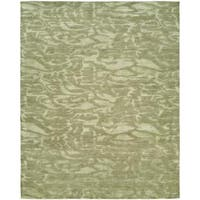 """Gramercy Moonstone Transitional Ivory Abstract Wool/Viscose Hand-knotted Area Rug (2'6 x 10') - 2'6"""" x 10'"""