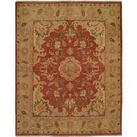 Carol Hicks Bolton Floral Hand-knotted Rust Wool/ Cotton Runner Rug (2'6 x 10')