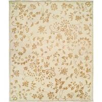 "Carol Hicks Bolton Alabaster Leaf Hand-knotted Cream Wool/Cotton Indoor Runner Area Rug (2'6 x 10') - 2'6"" x 10'"