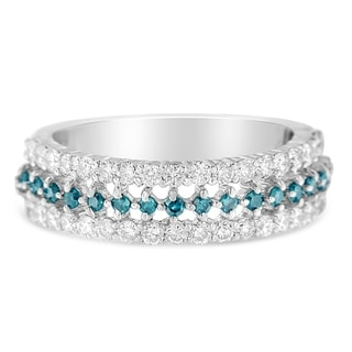 Link to 14k White Gold 1ct TDW Treated Blue Round Diamond Modern Band Ring(H-I ,I1-I2) Similar Items in Wedding Rings