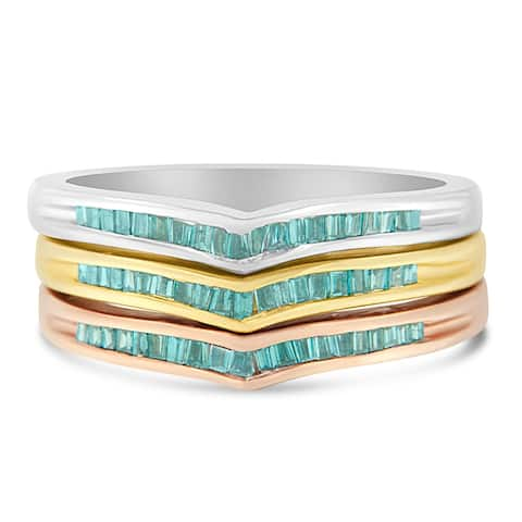 10k Tri-Tone Gold 0.5ct TDW Treated Blue Baguette Diamond Stackable Ring Set(I2-I3)