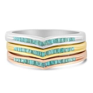 10k Tri-Tone Gold 0.5ct TDW Treated Blue Baguette Diamond Stackable Ring Set(I2-I3)
