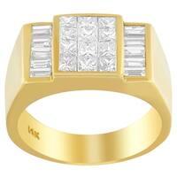 14K Yellow Gold 2 1/4 ct. TDW Princess and Baguette-cut Diamond Ring (G-H, VS1-VS2)
