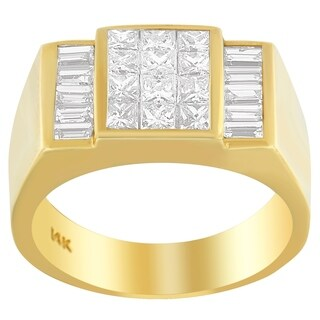 14K Yellow Gold 2 1/4 ct. TDW Princess and Baguette-cut Diamond Ring (G-H, VS1-VS2) (3 options available)