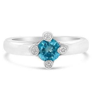 14k White Gold 0.75ct TDW Treated Blue Round Solitaire Diamond Ring(H-I ,SI1-SI2)