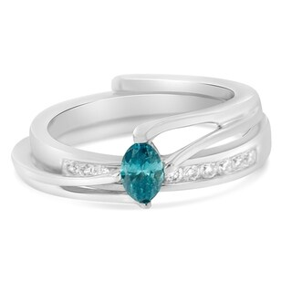 14k White Gold 0.5ct TDW Round and Treated Blue Marquise Cut Diamond Engagement Ring Set(H-I ,SI1-SI2)