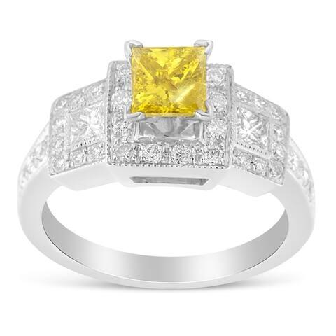 14k White Gold 1.5ct Round and Treated Yellow Princess Diamond Wedding Ring(H-I ,SI1-SI2)