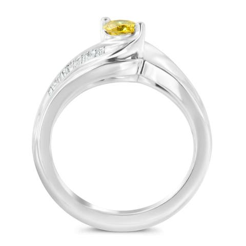 14k White Gold 0.6ct TDW Baguette and Treated Yellow Round Cut Solitaire Diamond Engagement Ring(H-I ,SI2-I1)