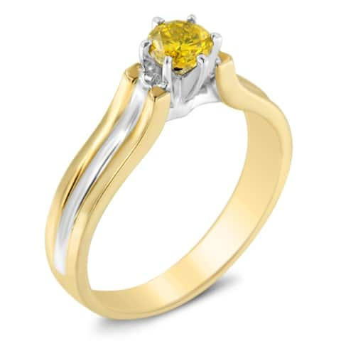 14k Two-Toned Gold 0.5ct TDW Treated Yellow Round Diamond Solitaire Engagement Ring(I2-I3)