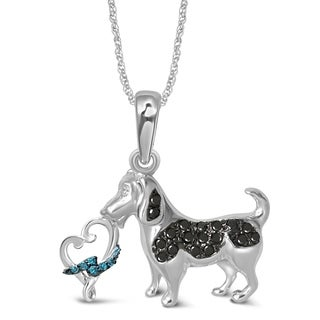 Unending Love Sterling Silver Loving Arms 1/8 CTW Accent Diamond Dog Pendant