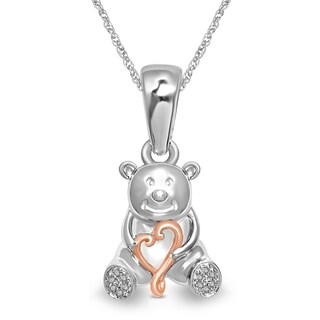 Unending Love Sterling Silver And 14K Gold Plated Diamond Accent Teddy Bear Pendant