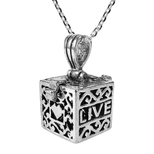 Prayer Box Charm Necklace 925 Sterling Silver Top Opens 8mm Love Faith Gift NEW