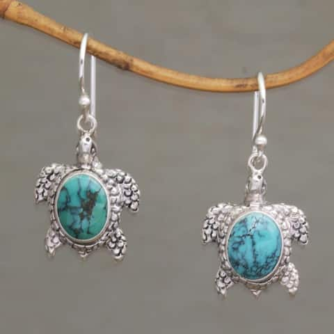 Handmade Sterling Silver 'Turtle Pond' Turquoise Earrings (Indonesia)