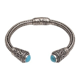 Handmade Sterling Silver 'Dragon Beauty' Turquoise Bracelet (Indonesia)