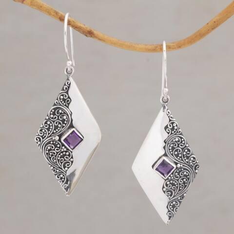 Handmade Sterling Silver 'Diamond Ferns' Amethyst Earrings (Indonesia)