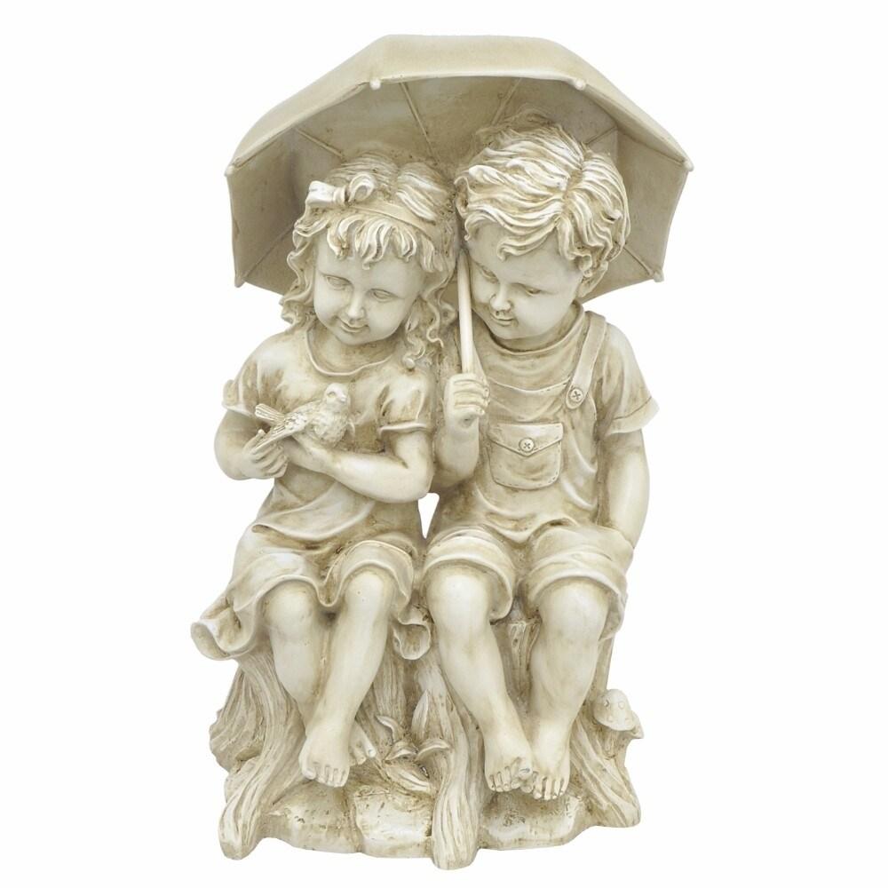 Boy And Girl Under Umbrella Sculpture - Off White- Benzar...