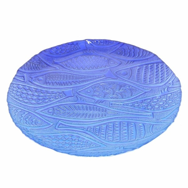 Astonishing Glass Votive Plate - Blue - Benzara
