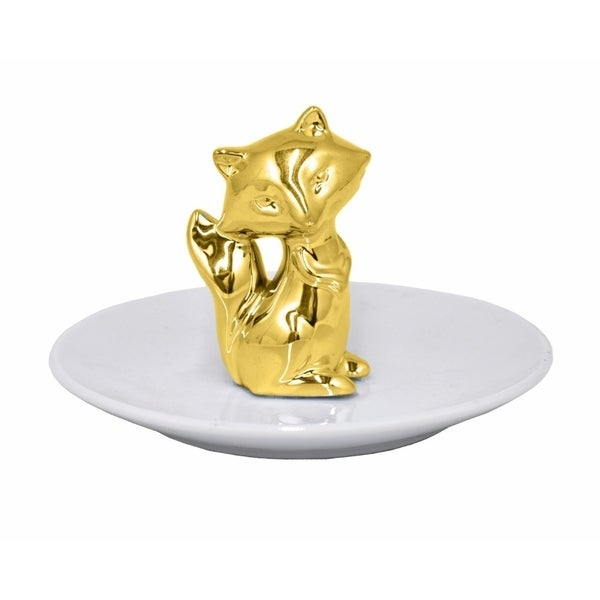 Ceramic Fox Figurine with Plate - Gold - Benzara