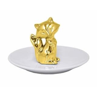 Ceramic Fox Figurine with Plate - Gold - Benzara