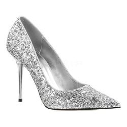 Women's Pleaser Appeal 20G Pointed-Toe Pump Silver Glitter Polyurethane