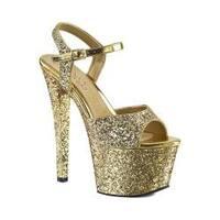 Women's Pleaser Sky 310LG Ankle-Strap Platform Sandal Gold Glitter/Gold Glitter