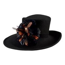 Women's San Diego Hat Company Wool Felt Wide Brim Hat with Flower Trim DRS3552 Black