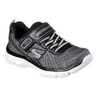 Boys' Skechers Advance Adjustable Strap Sneaker Charcoal/Black