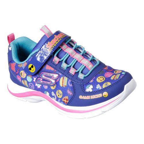 Shop Girls Skechers Game Kicks Swift Kicks Emoti Match Sneaker Blue Multi Overstock 16406670