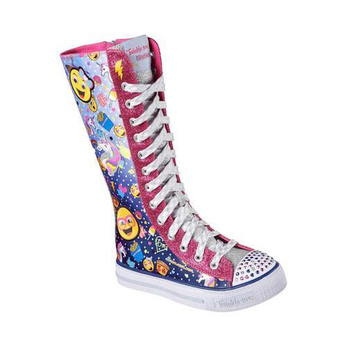 5f7de5b4990 Shop Girls  Skechers Twinkle Toes Shuffles Chattin Up Tall High Top Navy Hot  Pink - Free Shipping Today - Overstock - 16406720