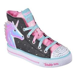 Girls' Skechers Twinkle Toes Shuffles Prancing Pretty High Top Black/Multi