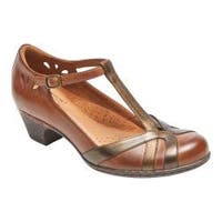 Women's Rockport Cobb Hill Angelina T-Strap Tan Multi Leather