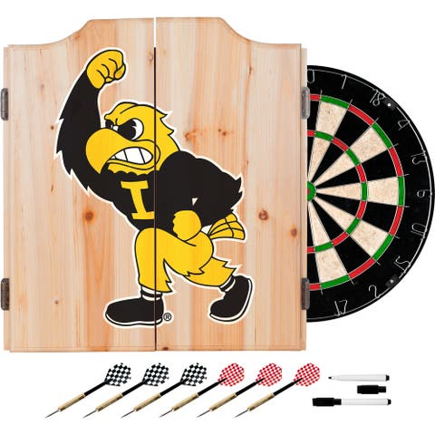 University of Iowa Dart Cabinet Set with Darts and Board - Herky