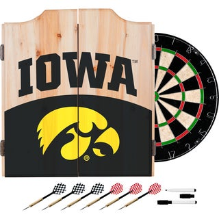 University of Iowa Dart Cabinet Set with Darts and Board - Logo