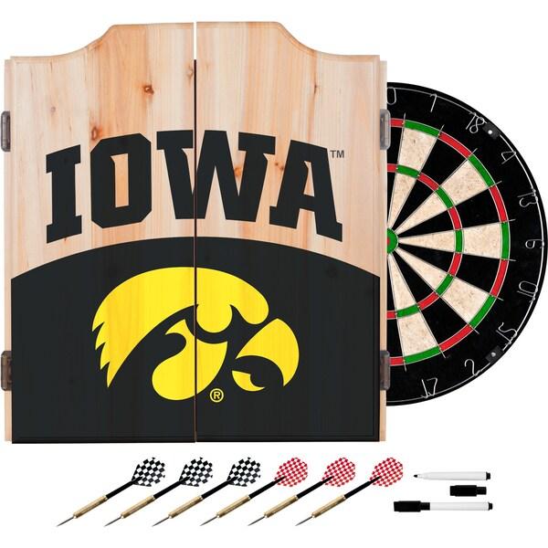Beau University Of Iowa Dart Cabinet Set With Darts And Board   Logo