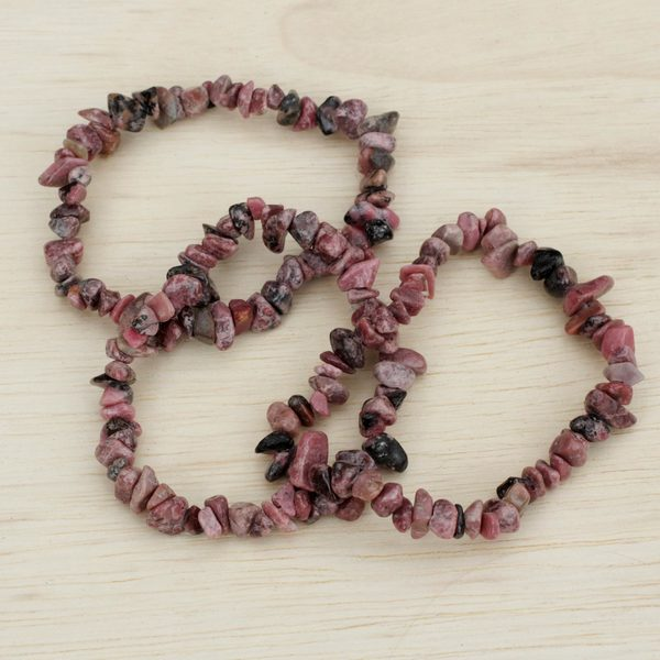 Handmade Set of 3 'Naturally Enchanting' Rhodonite Bracelets (Brazil). Opens flyout.