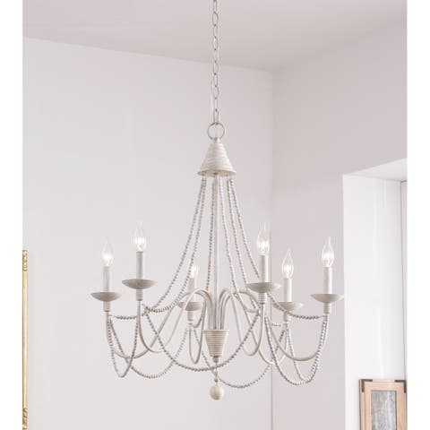 "Aubrey 27"" Weathered White 6 Light Chandelier"