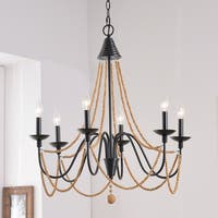 "Aubrey 26.5"" Oil Rubbed Bronze 6 Light Chandelier"
